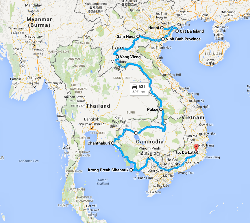 Route taken in Southeast Asia