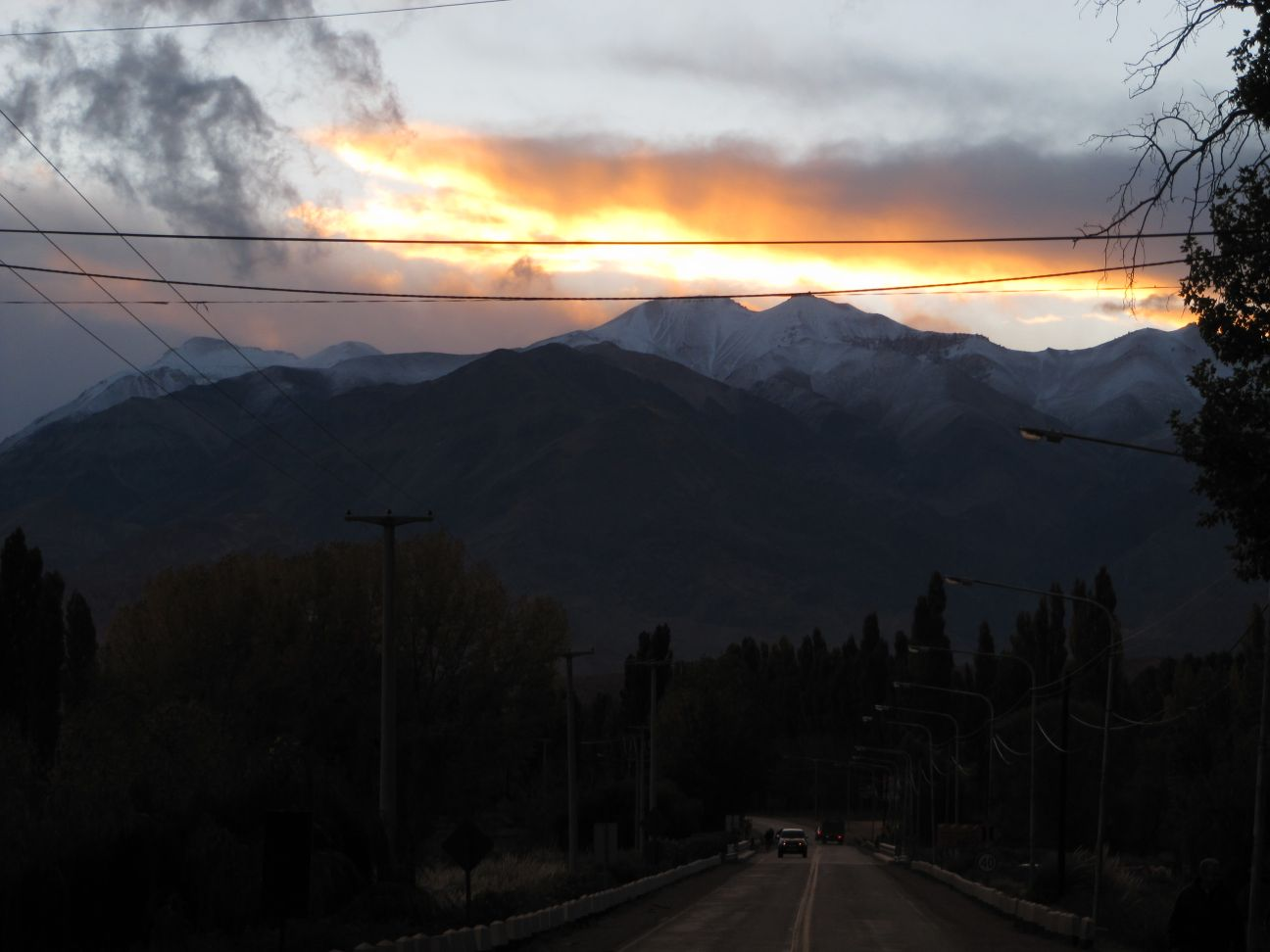 Sundown over the Andes in Uspallata